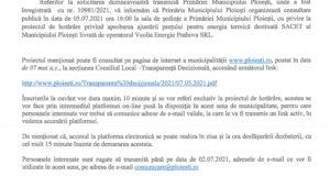 Datele organziarii dezbatarii publice cu privire la tariful la gigacalorie, solicitata de UAP Prahova